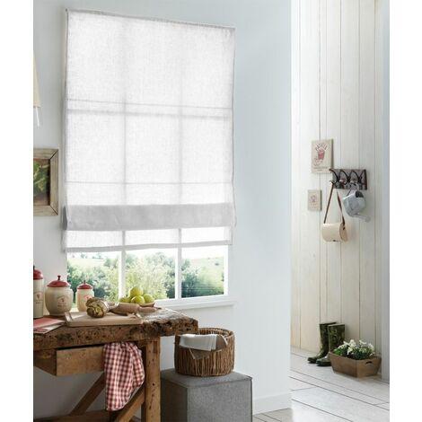 120 x 220cm(L x H) - Store Bateau Must Briza 100% Lin - Blanc