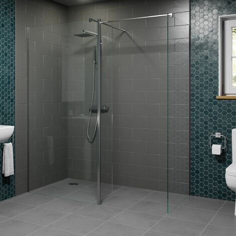 1200 & 800mm Walk In Wet Room Shower Screens with Return Panel 8mm Safety Glass