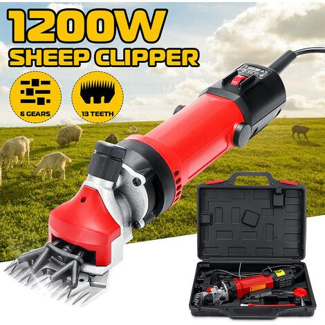 1200 W 2800 tr / min 13 dents Tondeuse à mouton électriques chèvres laine cisailles Animal Cutter réglable 6 vitesses (prise UE)