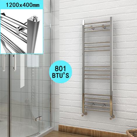 1200 x 400 mm Chrome Bathroom Radiator Straight Heated Towel Rail Radiator + Angled Radiator Valves