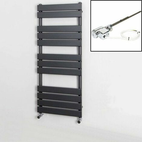 1200 x 500mm Heated Towel Rail Dual Fuel Thermostatic Anthracite Flat 12 Rail