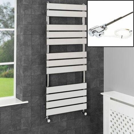 1200 x 500mm Heated Towel Rail Dual Fuel Thermostatic Chrome Flat 12 Rail Wall