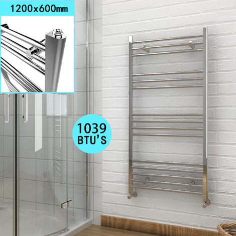 1200 x 600 mm Chrome Bathroom Radiator Straight Heated Towel Rail Radiator