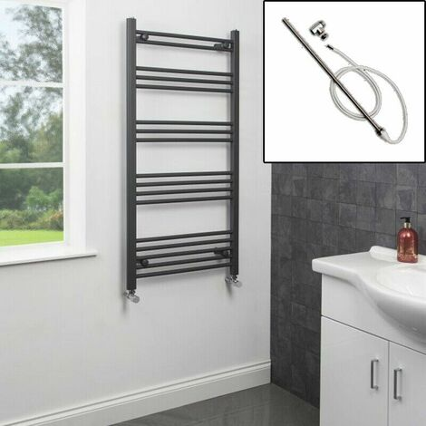 1200 x 600mm Bathroom Heated Towel Rail Dual Fuel Anthracite Flat Manual 17 Rail