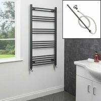 1200 x 600mm Bathroom Heated Towel Rail Dual Fuel Anthracite Flat Manual 17 Rail