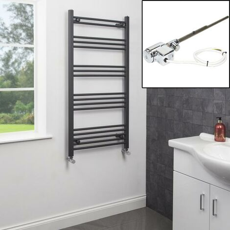 1200 x 600mm Heated Towel Rail Dual Fuel Thermostatic Anthracite Flat 17 Rails