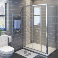 1200 x 700 mm Sliding Shower Enclosure 6mm Glass Reversible Cubicle Door with Tray and Waste + Side Panel