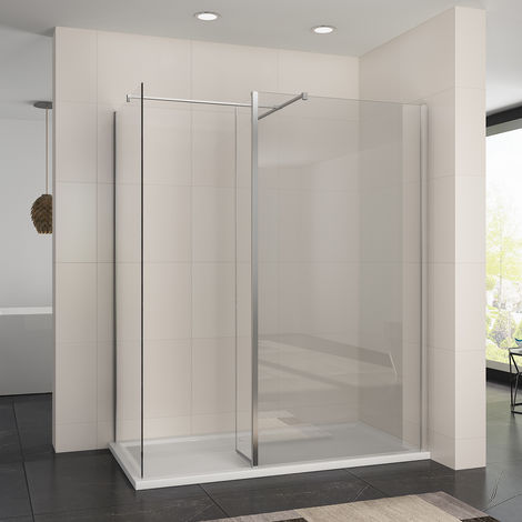 1200 x 700 mm Walk in Shower Enclosure 8mm Easy Clean Glass 1900mm Height Wetroom Shower Glass Panel with Stone Tray and 300mm Flipper Panel