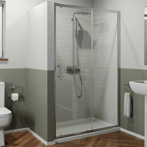 1200 x 700mm Sliding Shower Door Enclosure 6mm Glass Chrome Framed Tray & Waste