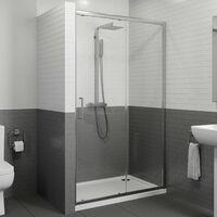 1200 x 760mm Sliding Shower Door Enclosure 8mm Glass Panel Framed Tray & Waste