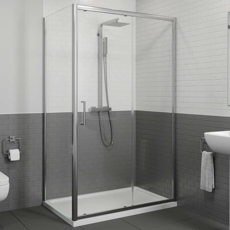 1200 x 760mm Sliding Shower Door & Side Panel Enclosure 8mm Framed Tray & Waste