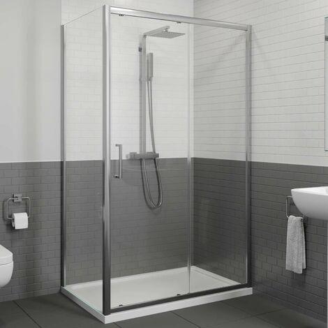 1200 x 760mm Sliding Shower Door & Side Panel Enclosure 8mm Framed Tray & Waste