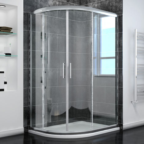 1200 x 800 mm Left Quadrant Shower Enclosure 6mm Sliding Glass Cubicle Door with Tray + Waste