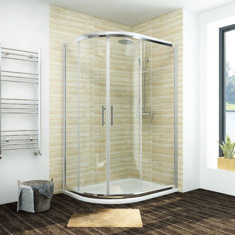 1200 x 800 mm Left Quadrant Shower Enclosure Sliding Glass Cubicle Door with Tray + Waste