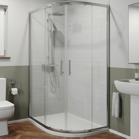 1200 x 800mm RH Offset Quadrant Shower Enclosure Framed 6mm Glass Tray & Waste