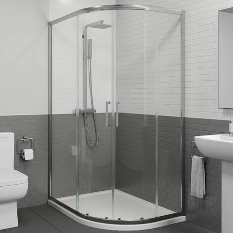 1200 x 800mm RH Offset Quadrant Shower Enclosure Framed 8mm Glass Tray Waste
