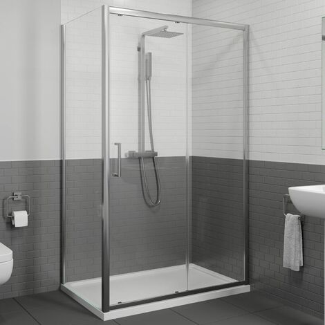 1200 x 800mm Sliding Shower Door & Side Panel Enclosure 8mm Framed Tray & Waste