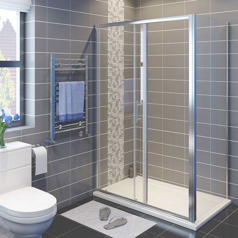 1200 x 900 mm Sliding Shower Enclosure 6mm Safety Glass Reversible Bathroom Cubicle Screen Door with Side Panel