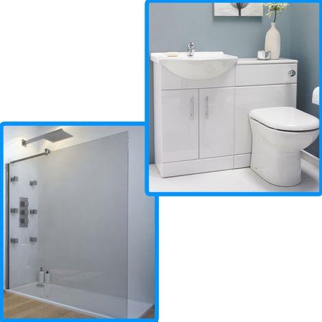 1200 X 900 Walk In Shower Enclosure With Furniture Bathroom Suite