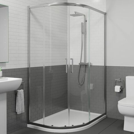 1200 x 900mm LH Offset Quadrant Shower Enclosure Framed 8mm Glass Tray Waste