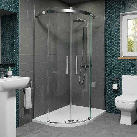 1200 x 900mm Offset LH Quadrant Shower Enclosure Frameless 8mm Glass Tray Waste
