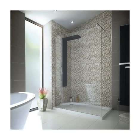 1200 X900 Walk In 8mm Glass Wetroom Shower Cubicle With Tray And Waste