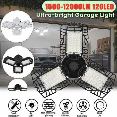 (12000LM 120LED) 1/2/3 / 4 pièces 2020 Version de mise à niveau Super lumineux LED réglable plafonnier de Garage pour éclairage de travail d'entrep?t de Garage