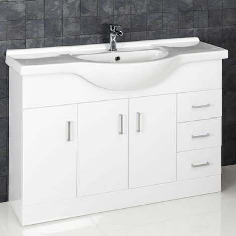 1200mm Bathroom Vanity Unit & Basin Floorstanding Gloss Tap Waste
