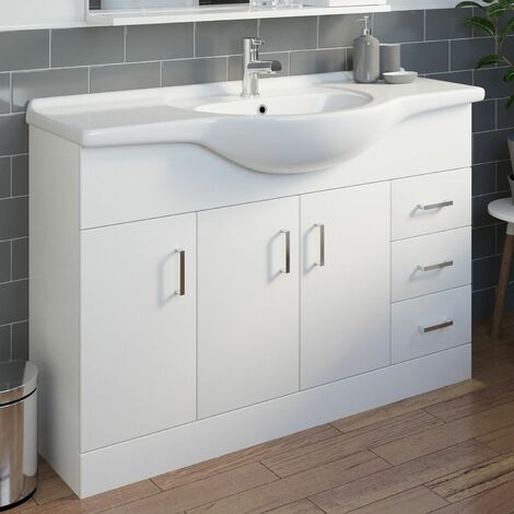1200mm Bathroom Vanity Unit Basin Gloss White Floorstanding Tap + Waste