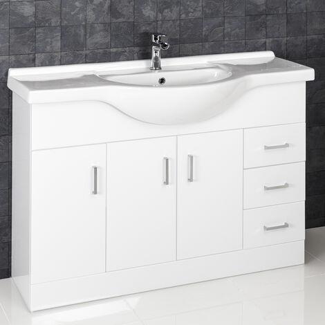 1200mm Bathroom Vanity Unit & Basin Sink Gloss White Tap + Waste