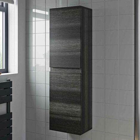 1200mm Tall Bathroom Wall Hung Cabinet Cupboard Soft Close Grey