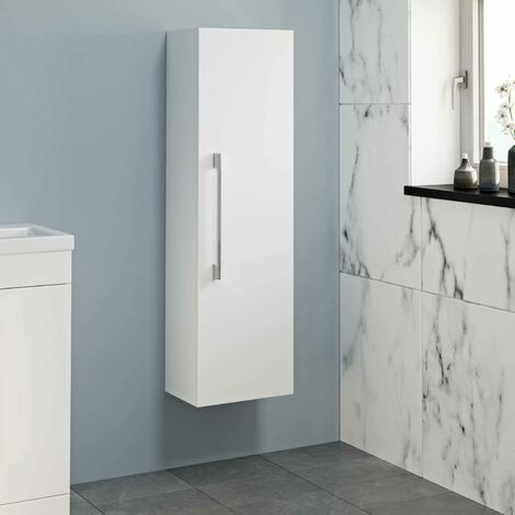1200mm Tall Bathroom Wall Hung Cabinet Cupboard Soft Close White
