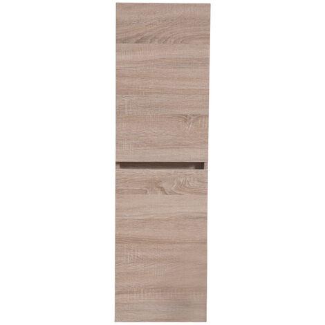 1200mm Tall Wall Hung Cabinet Cupboard 2 Door Storage Bathroom Furniture Unit Light Oak