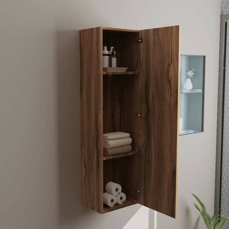 1200mm Walnut Wall Mounted Tall Bathroom Cupboard Storage Unit