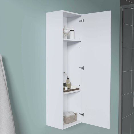 1200mm White Wall Mounted High Cabinet Tall Bathroom Storage Unit