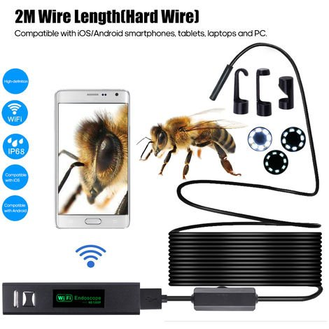 1200P Endoscope Borescope WIFI Inspection Camera Built-in 8pcs LEDs 8mm Lens IP68 Waterproof
