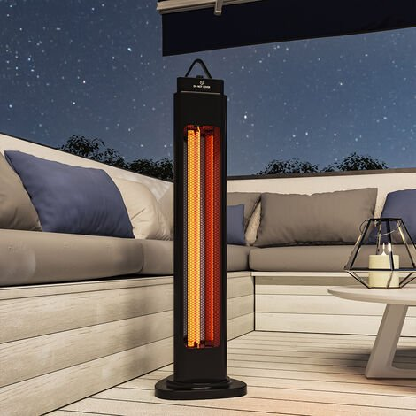 1200W Free Standing Outdoor Electric Patio Heater 2 Heat Setting