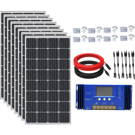 1200W Off Grid Solar System 8 pcs 150W Mono Solar Panel 24V Charge Home Power RV