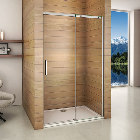 1200x1950mm Frameless Walk In Sliding Shower Door Enclosure 6mm Glass Screen Side Panel Tray