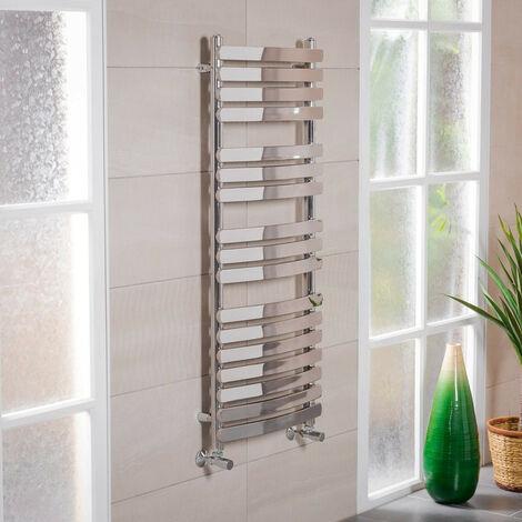 1200x500 Chrome Designer Curved Bathroom Heated Towel Rail Radiator Rad