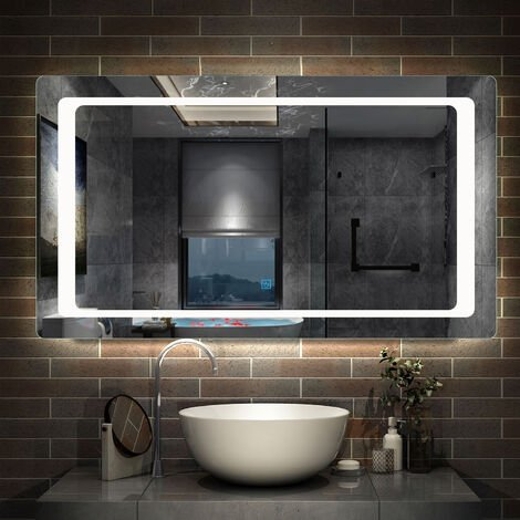 """main image of """"Steam free Bathroom Mirrors with LED Lights 3 Sensor Switches Optional Wall Mounted"""""""