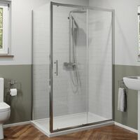 1200x760mm Sliding Shower Door Side Panel Framed Enclosure 6mm Glass Tray Waste