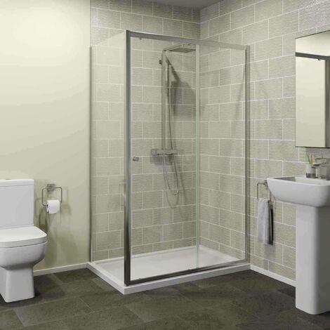 1200x900mm Sliding Shower Door Enclosure Side Panel 4mm Glass Framed Tray Waste