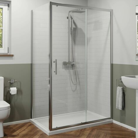 1200x900mm Sliding Shower Door Side Panel Framed Enclosure 6mm Glass Tray Waste