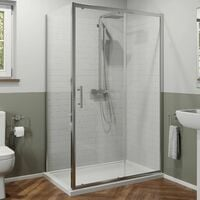 1200x900mm Sliding Shower Door Side Panel Framed Enclosure 6mm Glass Tray Waste