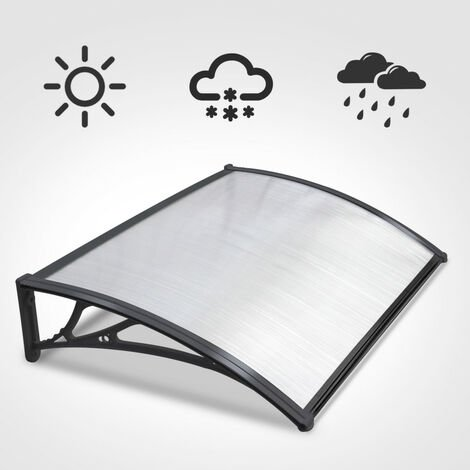 120cm Black Door Canopy Transparent Awning Shelter Front Back Porch Outdoor Shade Patio Roof