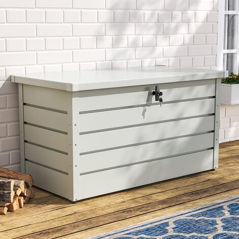 120CM Garden Storage Box Chest Lockable Tool Organizer, Dark Grey