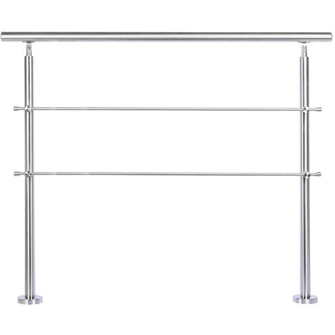 120CM Handrail Stainless Steel Balustrade with 2 Crossbars Stair Rails
