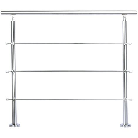 120CM Handrail Stainless Steel Balustrade with 3 Crossbars Stair Rails
