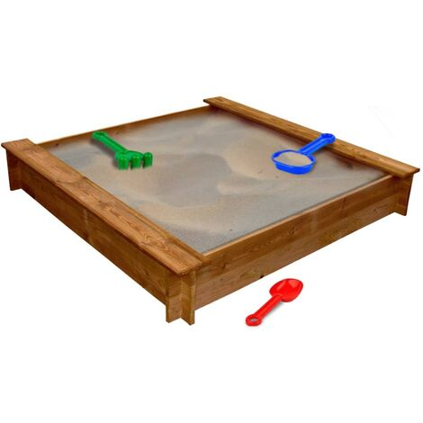 120cm Square Sandbox by Freeport Park - Brown